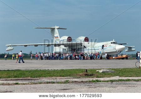 A-42 military seaplane Gagarrog Russia May 18 2013. The experimental aircraft was not mass-produced