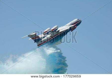 Seaplane Be-200 Taganrog Russia May 17 2014. Aviation plant demonstration flights