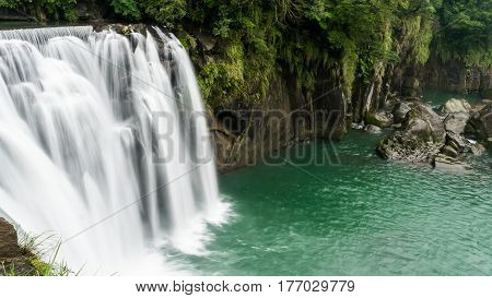 Long Exposure of beautiful Waterfall at Shifen Waterfall in Pingxi District New Taipei City Taiwan
