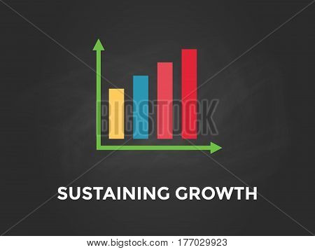 Sustaining Growth chart illustration with colourful bar, white text and black background vector