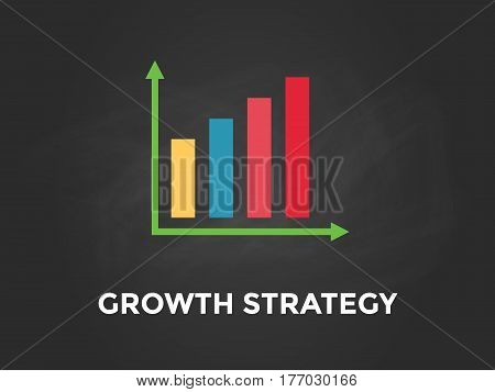 Grwoth strategy chart illustration with colourful bar, white text and black background vector
