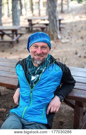 Joyful Bearded Man, Traveler Enjoying Life