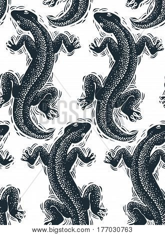 Vector reptilian seamless pattern lizards top view continuous background. Rain forest fauna backdrop for use in graphic design.