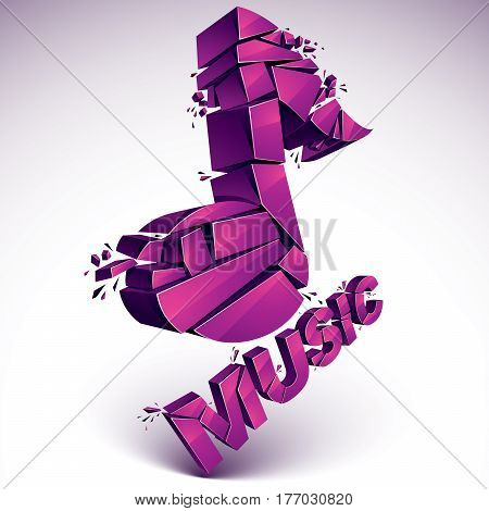 3D Vector Magenta Demolished Musical Notes, Music Word. Dimensional Groove Design Element With Refra