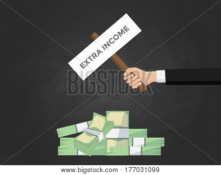 extra income text illustration on a sign board on top of money heap with black background vector