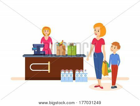 Young mother with her kid spend weekdays, implementing a campaign in store, buying goods, on the box office near the seller. Vector illustration isolated on white background.