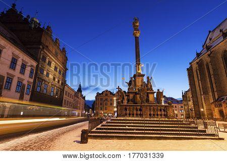 Plaque Pillar on Republic Square in Pilsen. Pilsen Bohemia Czech Republic.