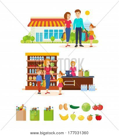 Young mother with her kids spend weekdays, implementing campaign in store, buying goods, on the box office near the seller, family on the street after shopping. Vector illustration.