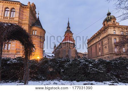Assumption Church in Pilsen. Pilsen Bohemia Czech Republic.