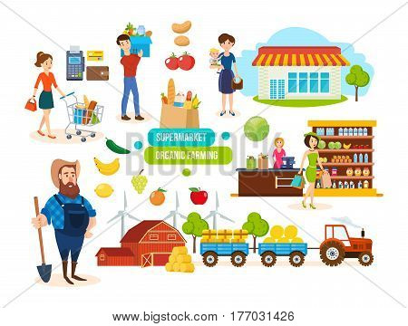 Supermarket organic farming concept. Buyers and sellers in the mall, farmer and organic products, sales of organic natural products. Vector illustration.