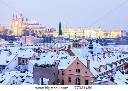 Winter in Prague - city panorama with St. Vitus Cathedral. Prague Bohemia Czech Republic.