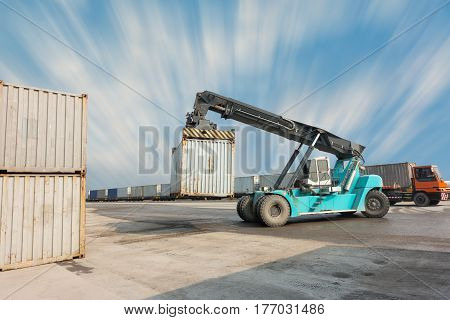 Heavy container lifting in shipping yard., Business transportation.