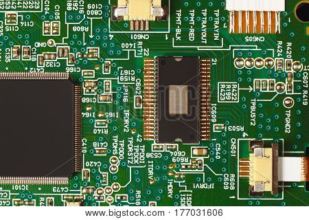 Electronic circuit board with components close up.
