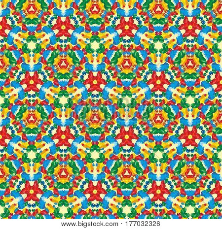 Seamless kaleidoscopic pattern with the imitation of colored glass