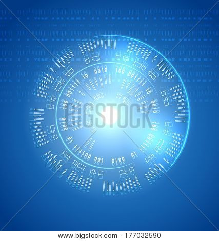 Abstract techno background. Bright transparency round touch panel element future interface on blue backdrop display with diagnostic data information. Vector