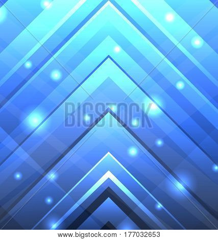 Illustration Abstract Techno Background with Transparent Arrows, Light Effect - Vector