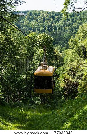 A ropeway of Sigulda transportation across and over the river Gauja Latvia.