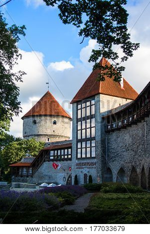 TALLINN ESTONIA - JULY 22 2015: Fortress towers in the center of Tallinn Old Town Estonia.