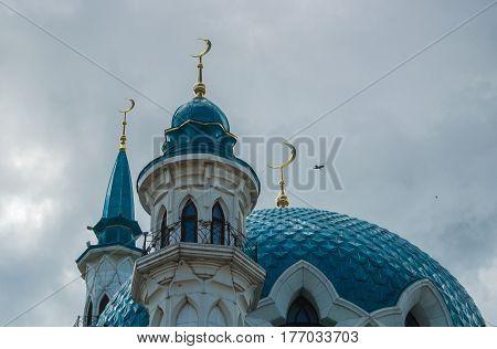 KAZAN RUSSIA - JUNE 25 2016: A close-up of a dome of Qol Sharif Mosque located in Kazan Kremlin Republic of tatarstan Russia.