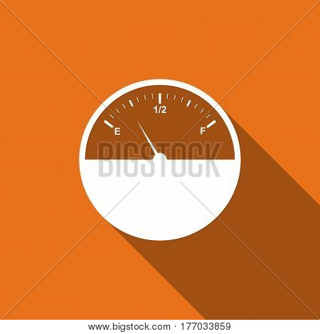 Fuel gauge flat icon with long shadow. Vector Illustration