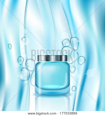 Illustration Cosmetic ad, Cream in Turquoise Tube, Watery Background with Drops - Vector