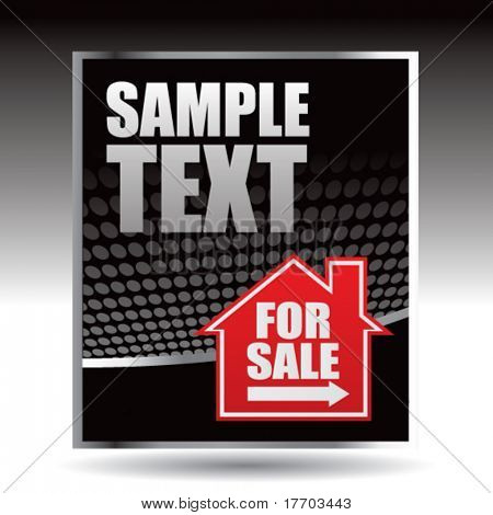 home for sale on black halftone template