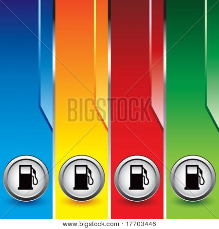 gas or fuel icon on vertical colored banners