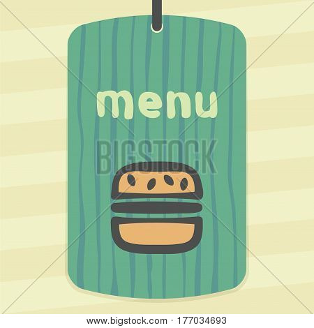 Vector outline hamburger fast food icon on label with hand drawn striped background. Elements for mobile concepts and web apps. Modern infographic logo and pictogram.