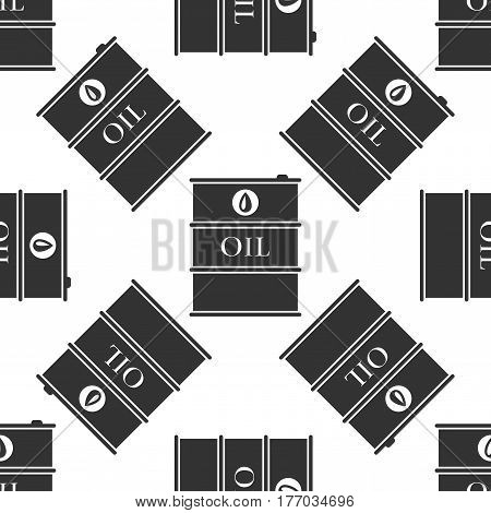 Barrel oil icon seamless pattern on white background. Vector Illustration