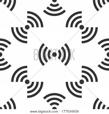 Wi-Fi network symbol icon seamless pattern on white background. Vector Illustration
