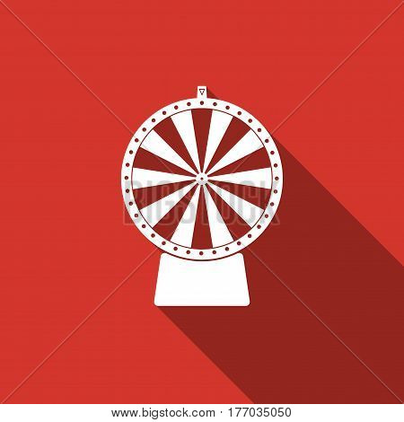 Lucky wheel flat icon with long shadow. Vector Illustration