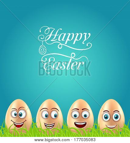 Illustration Humor Easter Card with Crazy Eggs on Grass Meadow, Greeting Nature Background - Vector