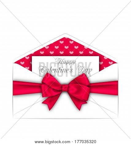 Illustration Envelope with Celebration Card and Pink Bow Ribbon for Valentines Day. White Letter Isolated on White Background - Vector