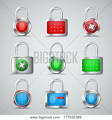 Set Of Metal Padlocks Round And Square Shapes With Different Types Of Protection