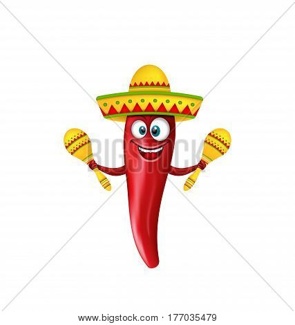 Illustration Festive Smiling Chili Pepper with Maracas, Crazy Cartoon Isolated on White Background - Vector