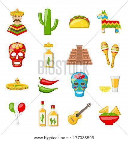 Illustration Set of Mexico Icons Isolated on White Background. Mexican Objects and Symbols - Vector