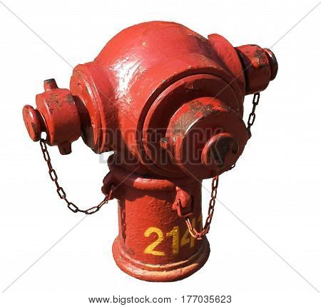 Red old style fire water hydrant isolated