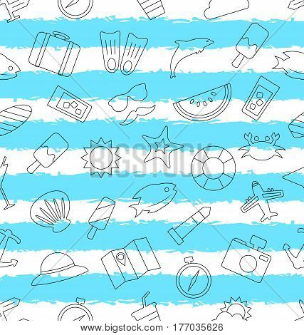 Illustration Seamless Pattern with Hand Drawn Travel Objects and Icons. Summer Texture - Vector