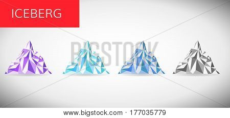 ice berg vector illustration . Snow mountain pick low pole