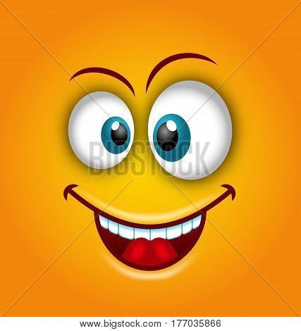 Illustration Happy Emoticon with Open Mouth and Smiling, Maybe used as Avatar - Vector