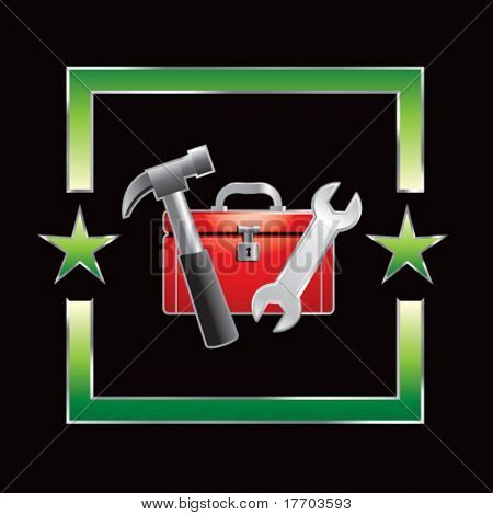 tools and toolbox in green star frame