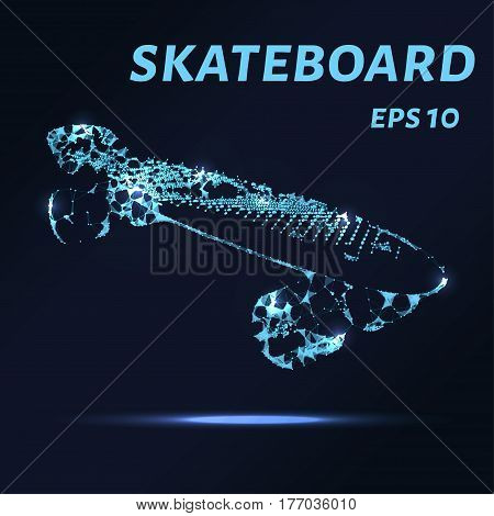 The Skateboard Is Made Of Points, Lines And Triangles. The Polygon Shape In The Form Of A Silhouette