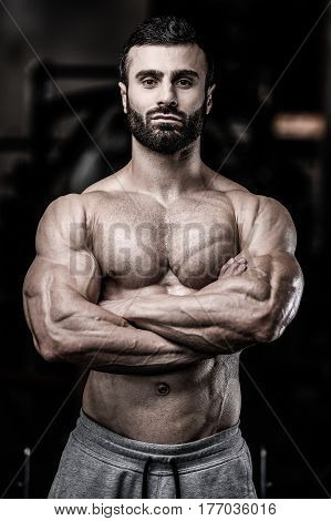 Sexy Portrait Of A Muscular Shirtless Male Model Looking Away