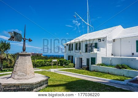 SOUTH HAMPTON-BERMUDA - MAY 27- The historic signaling station used by the Brith Army now a gift shop and tea room at the base of the Gibs Hill Lighthouse on May 27 2016 in Bermuda.