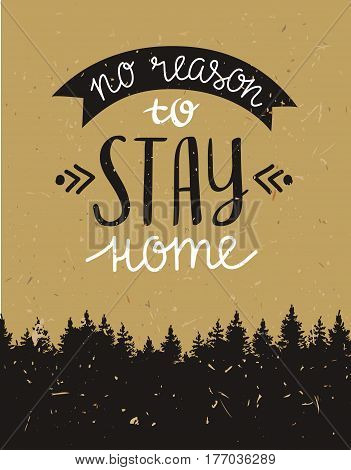 Vector vintage card with forest and  inspirational phrase