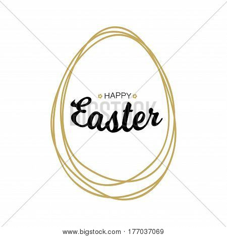 Vector Happy Easter black typographic calligraphic lettering with gold scribble egg frame  isolated on white background. Retro holiday easter badge. Religious holiday sign.