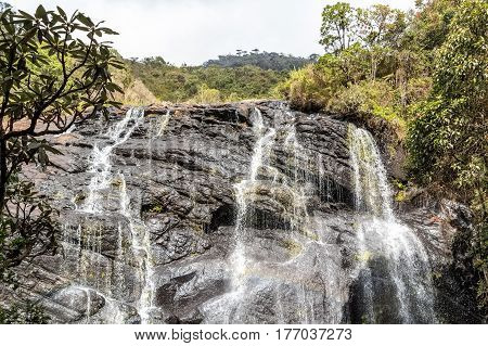 Bakers Falls in Horton plains, Sri Lanka. The height of Baker's waterfalls is 20 Metres and the falls were named after sir Samuel Baker, who was a famous explorer