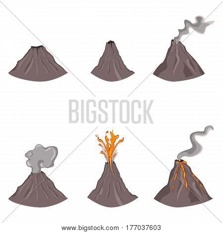 Vector Set Of Flat Color Volcano Illustrations