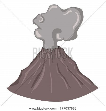 Vector Single Color Flat Illustration - Volcano