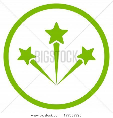 Festive Fireworks rounded icon. Vector illustration style is flat iconic symbol inside circle, eco green color, white background.